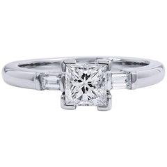 H & H 0.92 Carat Princess Cut Three-Diamond Engagement Ring