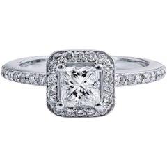 H & H 0.54 Carat Diamond Engagement Ring with Pave Diamond Halo