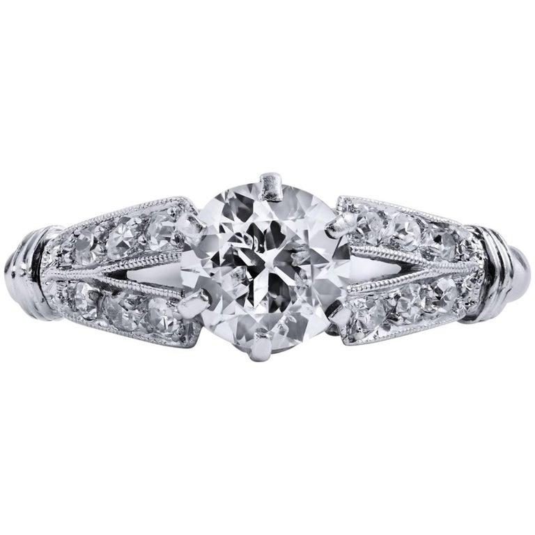0.68 Carat Old European Cut Diamond Engagement Ring