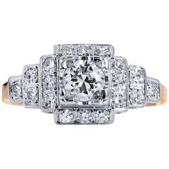 0.35 Carat Old European Cut Diamond Art Deco Engagement Ring