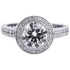 H & H 1.53 Carat Round Brilliant Cut Diamond Engagement Ring