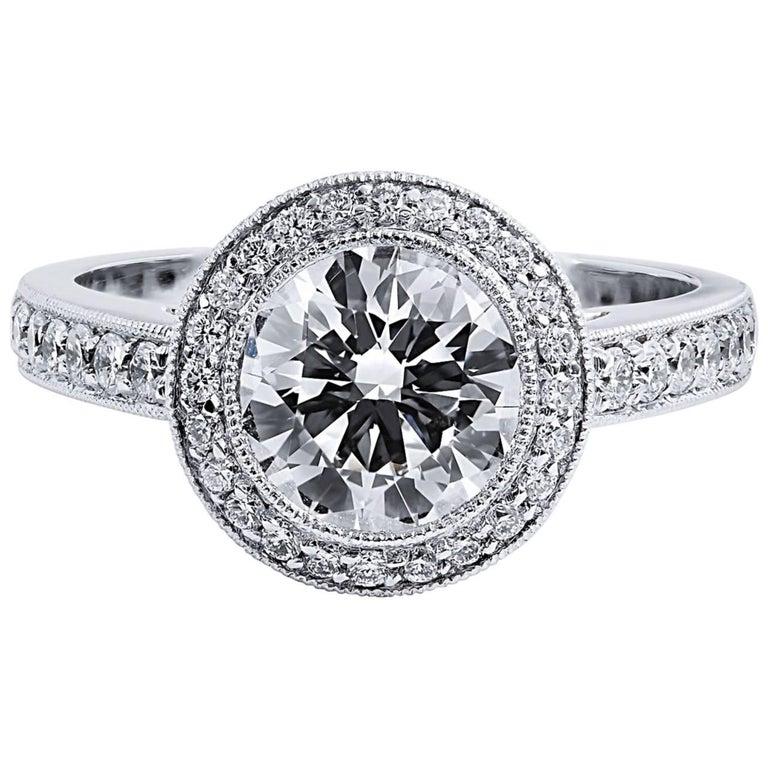 H & H 1.53 Carat Round Brilliant Cut Diamond Engagement Ring