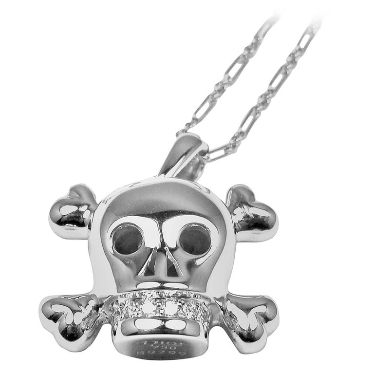 Christian Dior Tete de Mort Skull Diamond White Gold Pendant Necklace