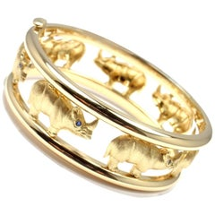 Roberto Coin Sapphire Rhinoceros Yellow Gold Bangle Bracelet