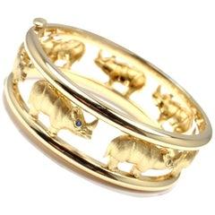 Roberto Coin Sapphire Rhinoceros Yellow Gold Bangle Bracelet