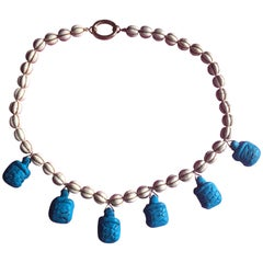 Turtle Necklace Turquoise White Pumpkins and Turtle Gold Filled