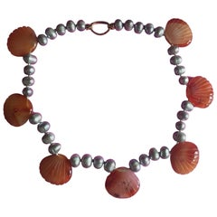 Shells Necklace Fresh Water Pearls Carved Carnelian Gold