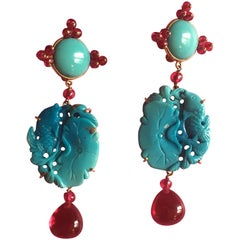 Carved Antiques Turquoise Rubellite Gold Turkfan Earrings