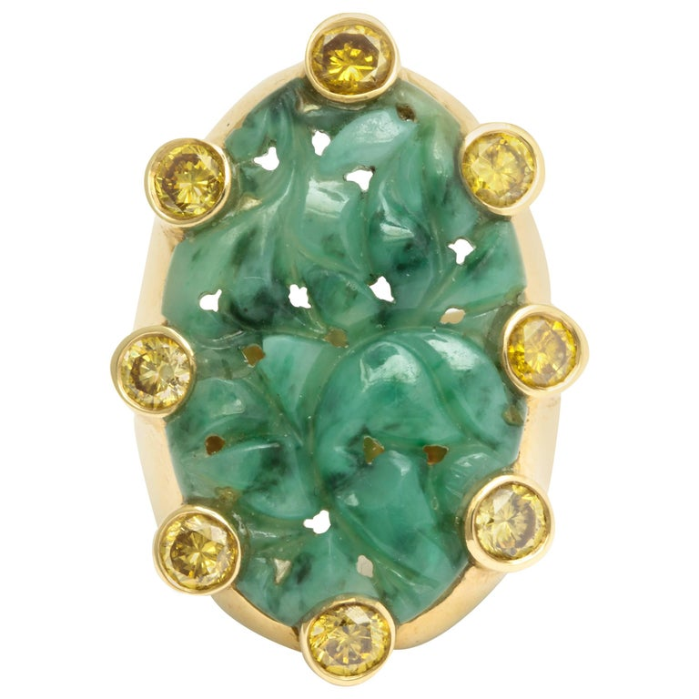 Marilyn Cooperman Gold Carved Jade and Yellow Diamond Ring