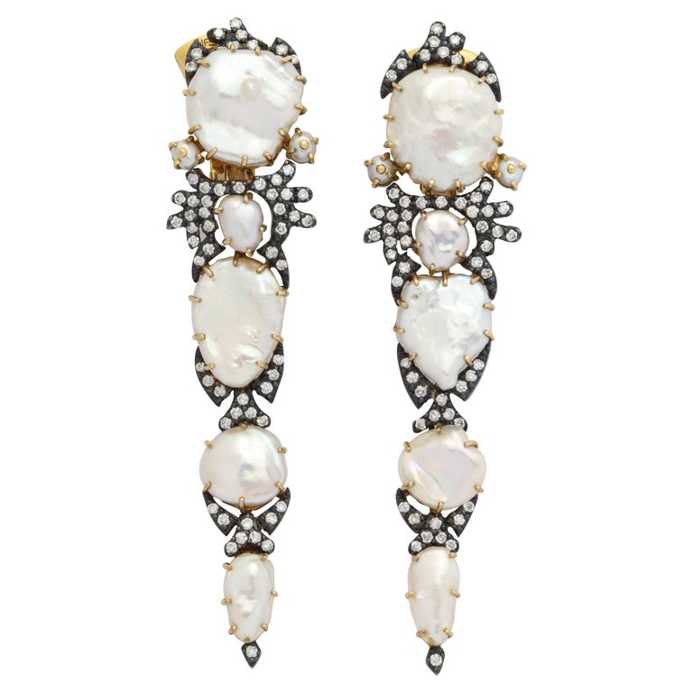 Marilyn Cooperman Midnight Keshi Streak Earclips