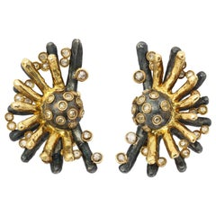 Marilyn Cooperman Double Fan Champagne Diamond Earclips