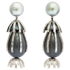 "Marilyn Cooperman ""New Years Eve"" Pearl and Diamond Earrings"