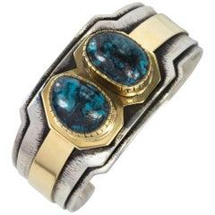 Anthony Sanchez Gold, Silver and Blue Diamond Turquoise Cuff Bracelet