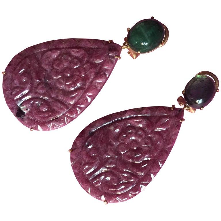Carved Ruby Drop Cabochon Emerald Tamil Nadu Earrings