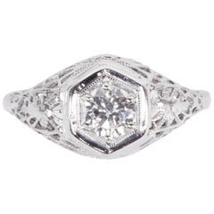 Art Deco Diamond Filigree Platinum Solitaire Engagement Ring Estate Fine Jewelry