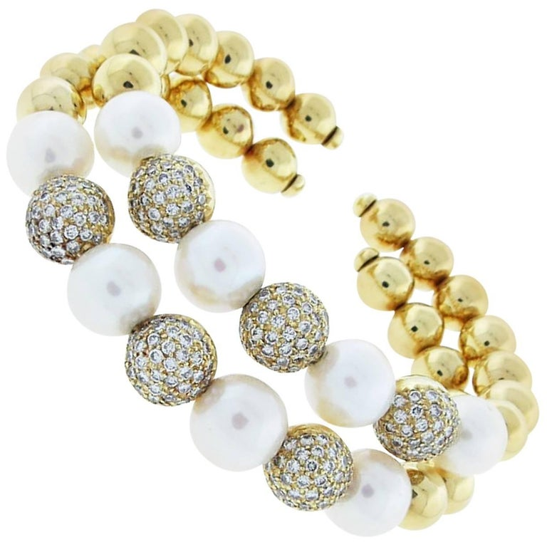 Pair of Diamond Pearl Gold Cuff Bracelets