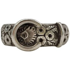 Arts & Crafts Buckle Engraved Floral Heavy Silver Victorian Band Ring