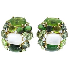 Fine Cluster Peridot, Tourmaline, Moonstone, and Diamond Earrings