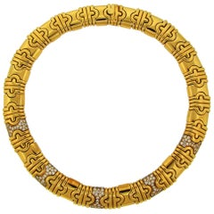 Bulgari Diamond Yellow Gold Parentesi Necklace