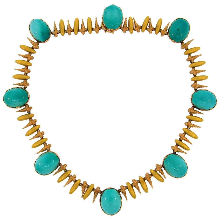 Vintage Buccellati Turquoise Two-Tone Gold Necklace