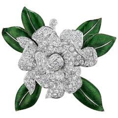 Oscar Heyman & Brothers Diamond Enamel Gardenia Brooch