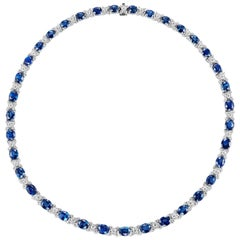 AGL Certified 44.03 Carat Natural Sapphire and Diamond White Gold Necklace