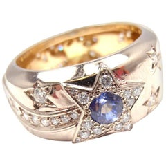 Chanel Comete Diamond Blue and Yellow Sapphire Two-Tone Gold Wide Band Ring