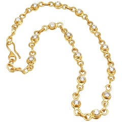 Jean Mahie Diamond Yellow Sapphire Reversible Link Necklace