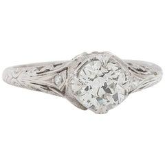 Vintage Engagement Ring Platinum 1.10 Carat Old Mine Cut G-SI2, circa 1920s