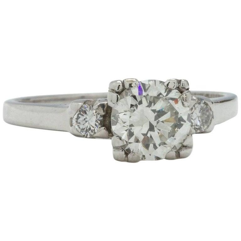 Vintage Engagement Ring Platinum 0.93 Carat Round Brilliant I-SI1, circa 1940s