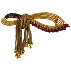 Marchak Paris Ruby Sapphire Yellow Gold Clip Brooch Pin