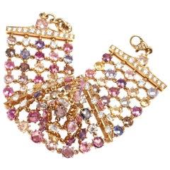 Bulgari Diamond and Fancy Color Sapphire Yellow Gold Link Bracelet
