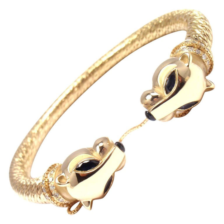 Cartier Panther Panthere Diamond Sapphire Yellow Gold Bangle Bracelet