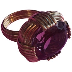Amethyst Gold Nest Ring