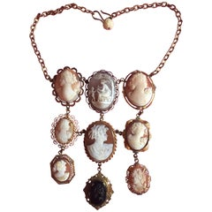 Italian Nine Antique Cameo Pendant Necklace