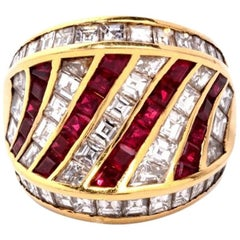 1960s Fine Ruby and Diamond 18 Karat Gold Cocktail Ring