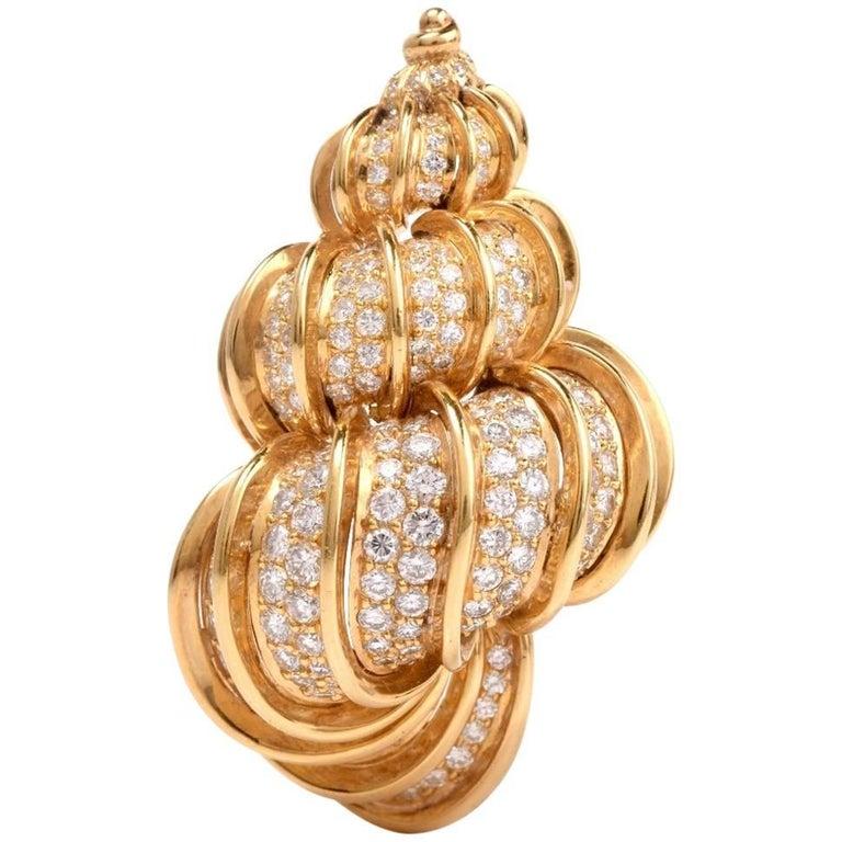 Kurt Wayne Diamond Gold Shell Brooch Pin and Necklace