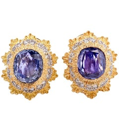 M. Buccellati Blue Sapphire Clip-Back Gold Earrings