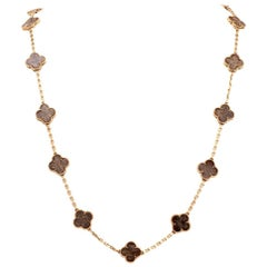 Vintage Van Cleef & Arpels Alhambra Clove Brown Stone Gold VCA Necklace