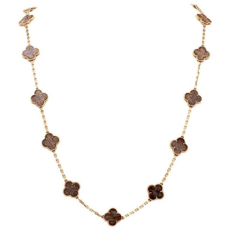 Vintage Van Cleef & Arpels Alhambra Clove Brown Stone Gold VCA Necklace