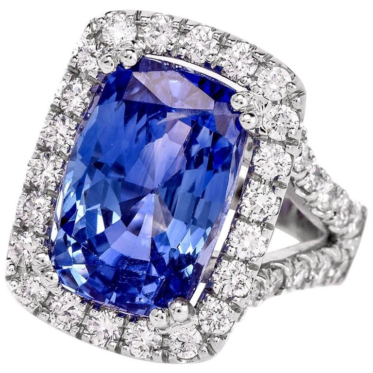 No Heat 15.80 Carat Cushion Sapphire Diamond Ring