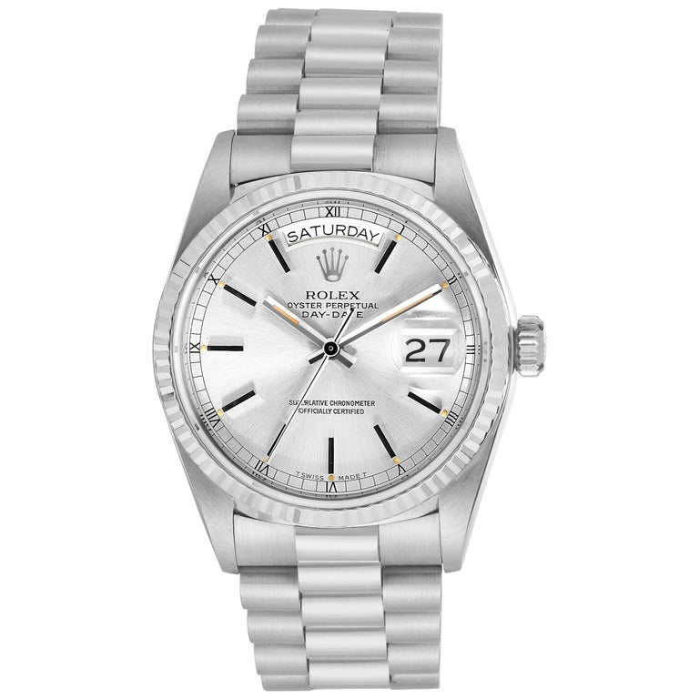 Rolex White Gold Vintage President Day-Date Automatic Wristwatch, circa 1980s
