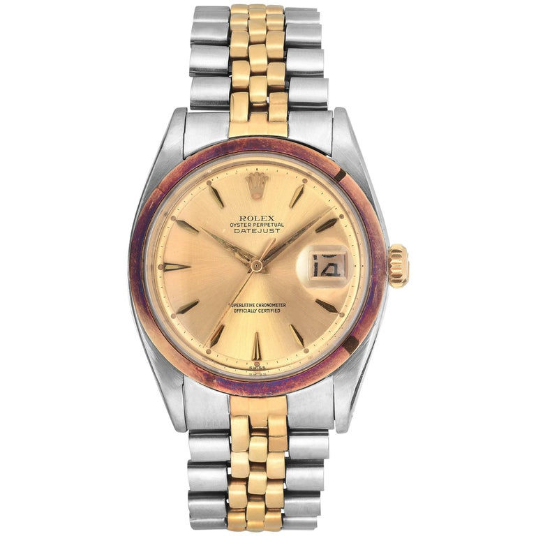 Rolex Yellow Gold Stainless Steel Vintage Datejust Automatic Wristwatch, 1960s