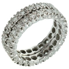 Diamond Platinum Two-Row Eternity Wedding Band Ring