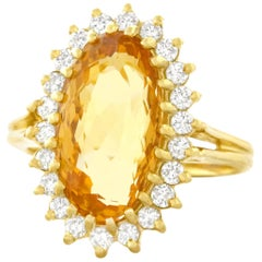1960s Natural Golden Topaz and Diamond Set Gold Ring