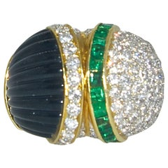 Diamond Emerald Onyx Ring