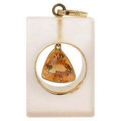 Citrine and Frosted Crystal Pendant
