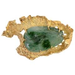 Ed Wiener Carved Jade Pendant Brooch