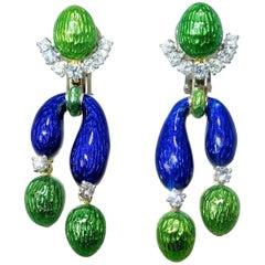Diamond and Multi-Color Enamel Earrings