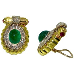 18 Karat Gold, Emerald, Diamond and Ruby Earrings